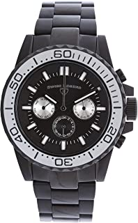 Swiss Legend Conquest Men's Analog Black Stainless Steel Quartz Watch with Silver Bezel and Day & Date Display 10706-BB-11-SA
