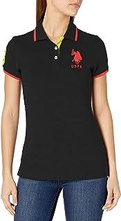 U.S. POLO ASSN. womens Triple Crown Short Sleeve Stretch Pique Polo Shirt Polo Shirt