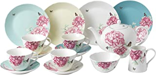 Royal Albert Miranda Kerr 15-Piece Tea Cup and Saucers/Pot/Sugar and Cream Set, Porcelain, Multi-Colour, 41 x 28.5 x 28.7 cm