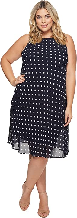 Plus Size Geminah Classic Dot Georgette Dress