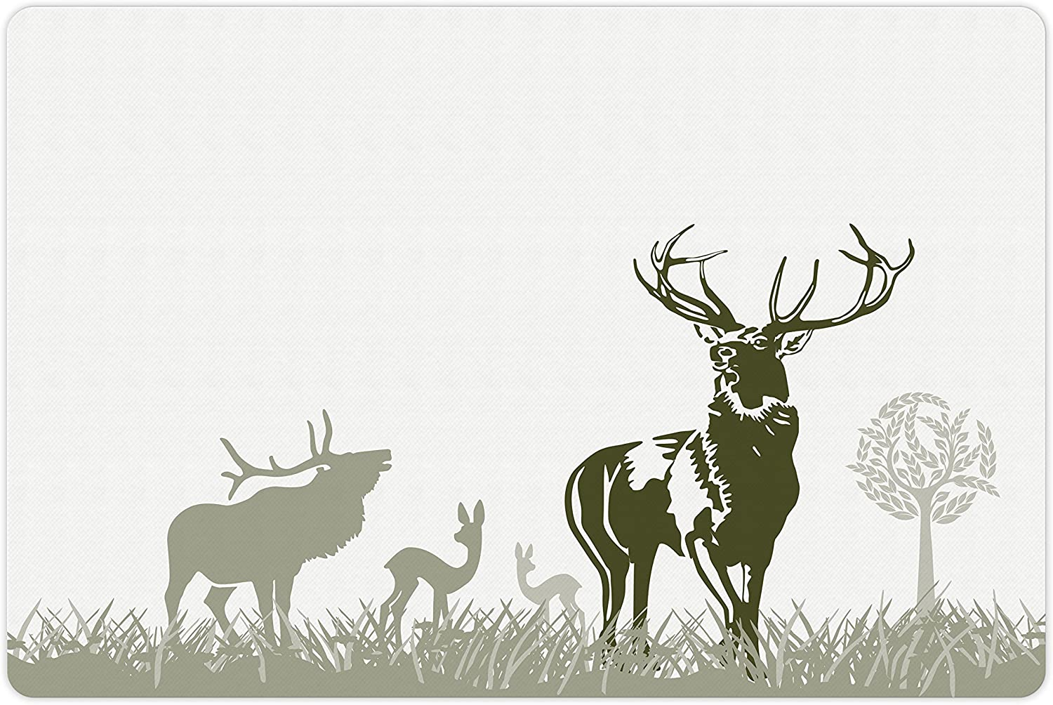 Lunarable Antlers Pet Mat for Detroit Mall Food Quality inspection and Animal Wild Deers Water