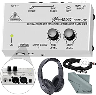 Behringer MICROMON MA400 Compact Monitor Headphone Amplifier with Microphone Input and Accessory Bundle w/Closed-Back Headphones + More