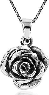 AeraVida Beautiful Blooming Rose .925 Sterling Silver Pendant Necklace
