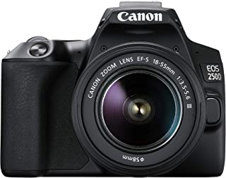 EOS 250D - Cámara digital (24 1 megapíxeles pantalla de 77 cm (3) Vari-Angle Display sensor APS-C 4K Full HD DIGIC 8 WLAN Bluetooth) incluye objetivo EF-S 18-55mm f/3.5-56 III Negro
