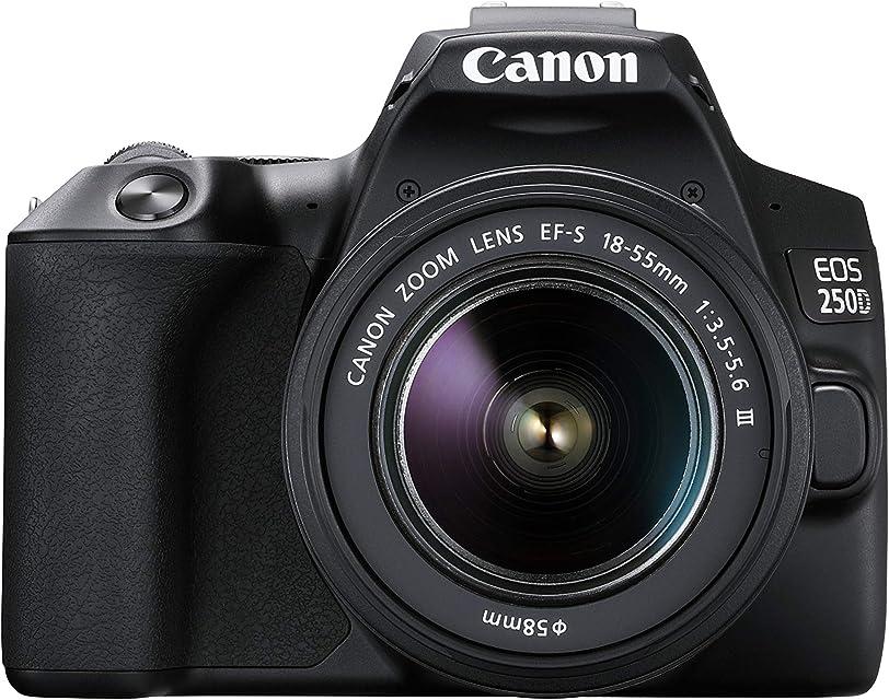 EOS 250D - Cámara digital (24 1 megapíxeles pantalla de 77 cm (3) Vari-Angle Display sensor APS-C 4K Full HD DIGIC 8 WLAN Bluetooth) incluye objetivo EF-S 18-55mm f/3.5-56 III Negro