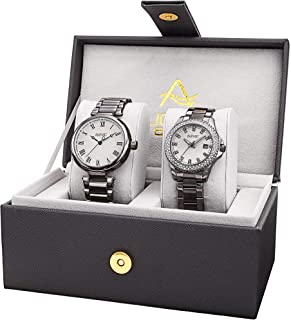 August Steiner AS8240 His and Hers Watch Set - Two Matching Men's and Women's Watches - Stainless Steel Link Bracelet Bands, Gift Box