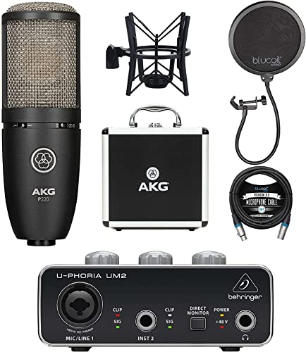 high quality AKG P220 Cardioid Condenser Microphone for outlet sale Vocals and String Instruments Bundle with Behringer U-PHORIA UM2 USB Audio Interface for Windows and Mac, Blucoil Pop Filter, and 10-FT outlet sale Balanced XLR Cable outlet online sale