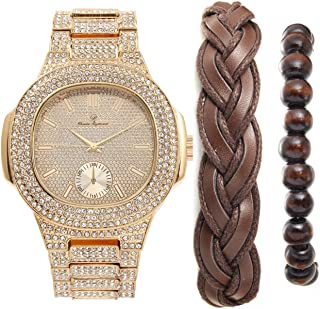 Iced Out Oblong Most Popular Mens Gold Watch, Accessorized with Fashionable Versatile Bracelets Fabric Braided Bracelet and Wooden Beaded Bracelet - Perfect Touch for the Best Dressed Man-8475BBGldBrw