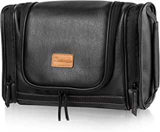 MIRASON Hanging Toiletry Bag for Men Dopp Kit Waterproof Leather Travel Organizer with Sturdy Metal Hook and Handle for Bathroom Shower Cosmetics Camping Brushes Shaving (Black)