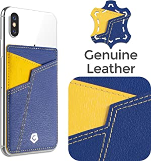 Cobble Pro Self Adhesive Genuine Leather Stick On Credit Card Phone Holder Wallet Case, Sports Teams Fans Lover Sleeve Pocket Compatible with iPhone 11/11 Pro / 11 Pro Max, Smartphone, Blue Yellow