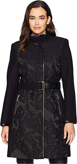 Belted Mixed Media Wool Coat R1151
