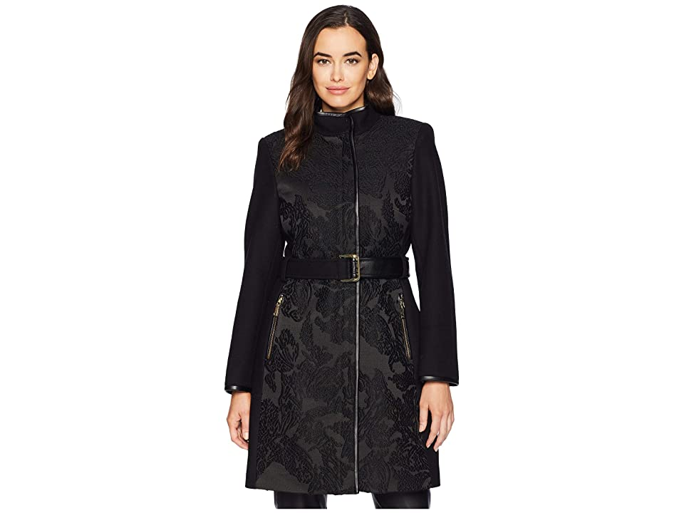 Vince Camuto Belted Mixed Media Wool Coat R1151 (Jacquard) Women