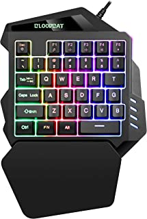 iAmotus Teclado Gaming para Una Sola Mano Ergonomica Reposamanos Rainbow LED Retroiluminación 35-Key Mini Portatil Teclado Profesional para Juegos per PC Windows/Mac(Negro)