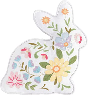 "C&F Home Floral Bunny Shaped Pillow Multicolored 14"" Easter Soft Woven Pillow with Filling for Couch Sofa Bed Chair C"