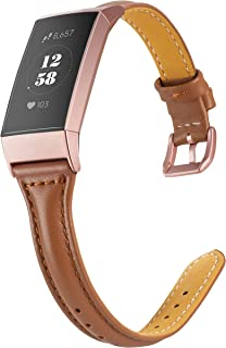 Wearlizer Compatible with Fitbit Charge 3 Bands for Women Slim Leather Replacement Fit Charge hr 3 Special Edition Rose Gold Band Accessories Strap