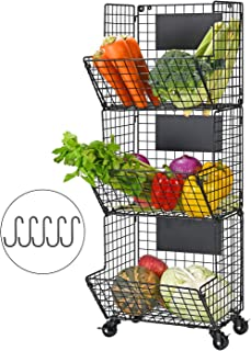 YUKOOL 3-Tier Hanging Wire Baskets with Wheel and Adjustable Chalkboards, Metal Wall-Mounted Storage and Organization for ...
