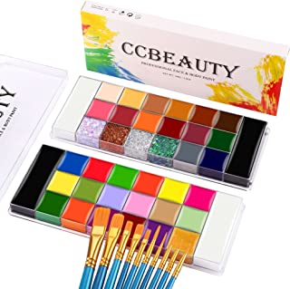 Sponsored Ad – CCbeauty Professional Face Body Paint Kit 2x20 Colors with 10 Blue Brushes Oil-Based Face Paint Makeup Pale...
