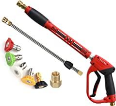 Tool Daily Deluxe High Pressure Washer Gun, with Replacement Wand Extension, 5 Nozzle Tips, M22 Fitting, 40 Inch, 5000 PSI