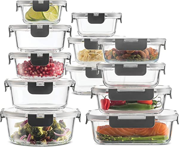 24 Piece Superior Glass Food Storage Containers Set Newly Innovated Hinged BPA Free Locking Lids 100 Leak Proof Glass Meal Prep Containers Great On The Go Freezer To Oven Safe Food Containers