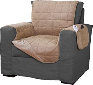 Serta   Quilted Electric Warming Furniture Protector, Pet Safe & Durable Easy Care Microsuede Fabric (Chair Protector, Camel)
