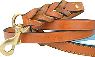 Soft Touch Collars - Leather Braided Dog Leash 6 FT x 3/4 INCH Brown