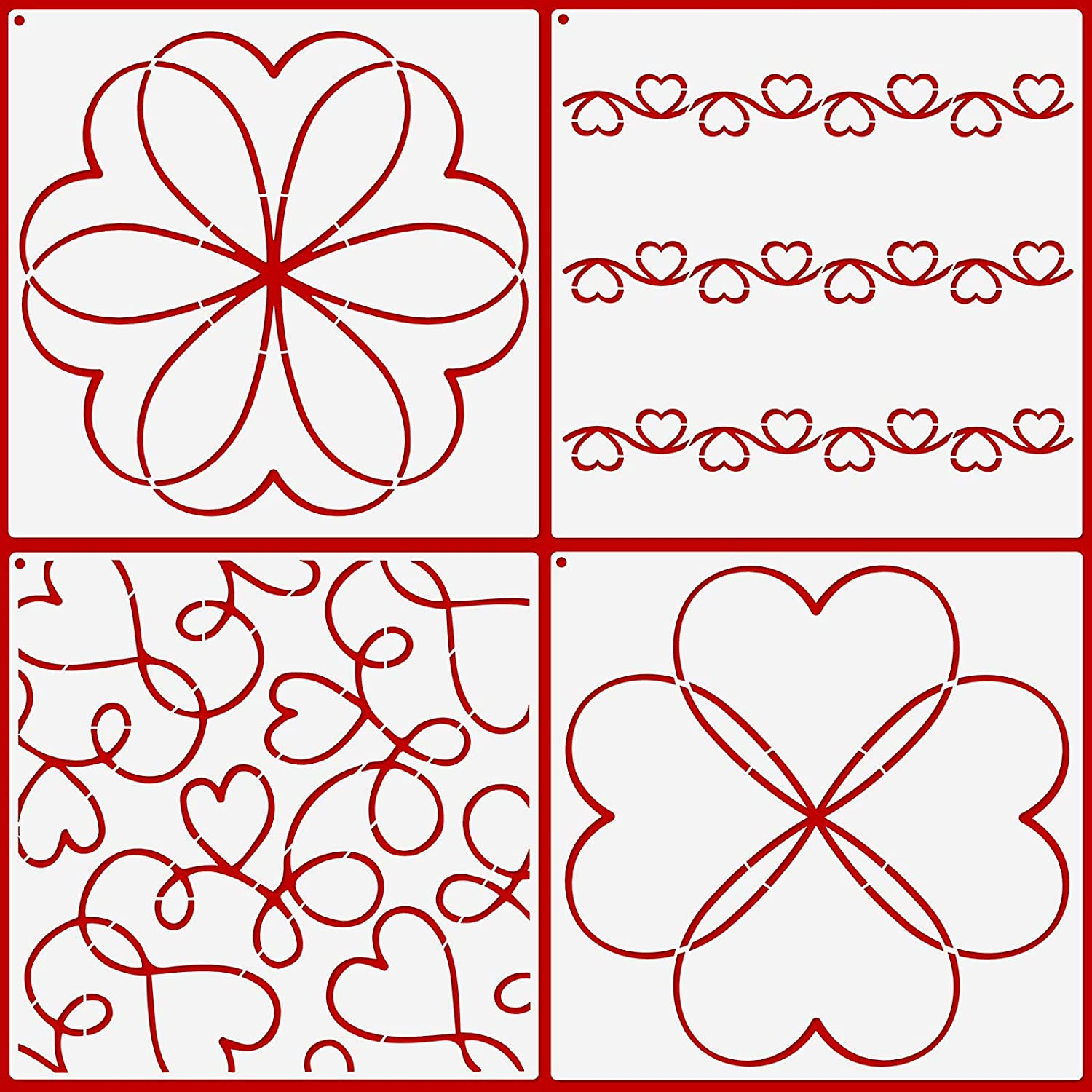 4 Pieces Valentine's Day Heart SEAL New product!! limited product S Line Kit Quilting Stencil