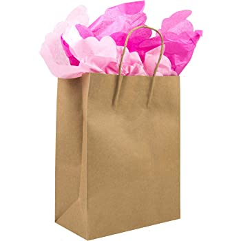 100pcs-[8x4.5x10.5] Brown Paper Bags with Handles Bulk. For Gift Bags, Wedding Bags, Party Bags, Shopping Bags, Kraft Bags, Retail Bags.