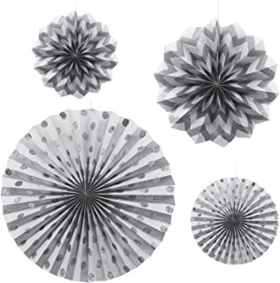 Paper Fans Glitter Hanging Decorations Silver