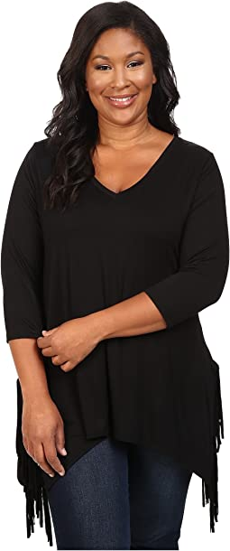 Karen Kane Plus - Plus Size 3/4 Sleeve Fringe Top