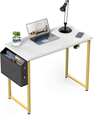 Small Computer Desk White Home Office Small Spaces 31 Inch Modern Writing Table for Student Teens Study Bedroom Work PC Des, with Gold Legs