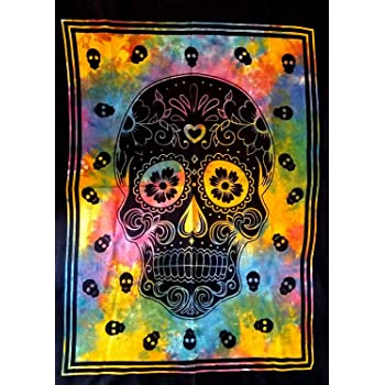 Black /& white ICC Black And White Skull Tapestries Grateful dead Tapestry psychedelic Tapestry Wall hanging Hippie Hippy Dorm Decor Hippie Bohemian College Dorm Tapestry Wall Hanging