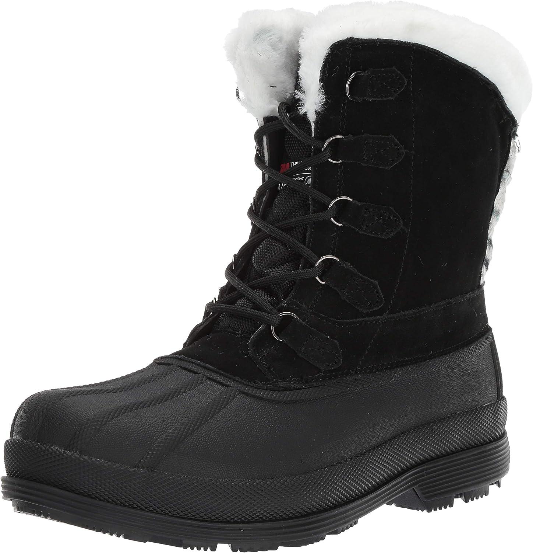 Propet Women's Lumi Tall Lace Snow Boot, Black White, 7H Medium Medium US