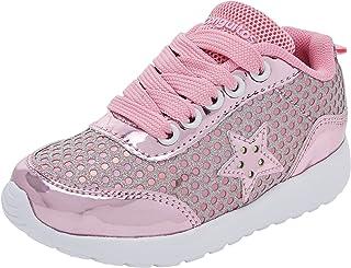 Deportivo Luces, Zapatos de Cordones Derby para Niñas, Rosa (Pink), 33 EU