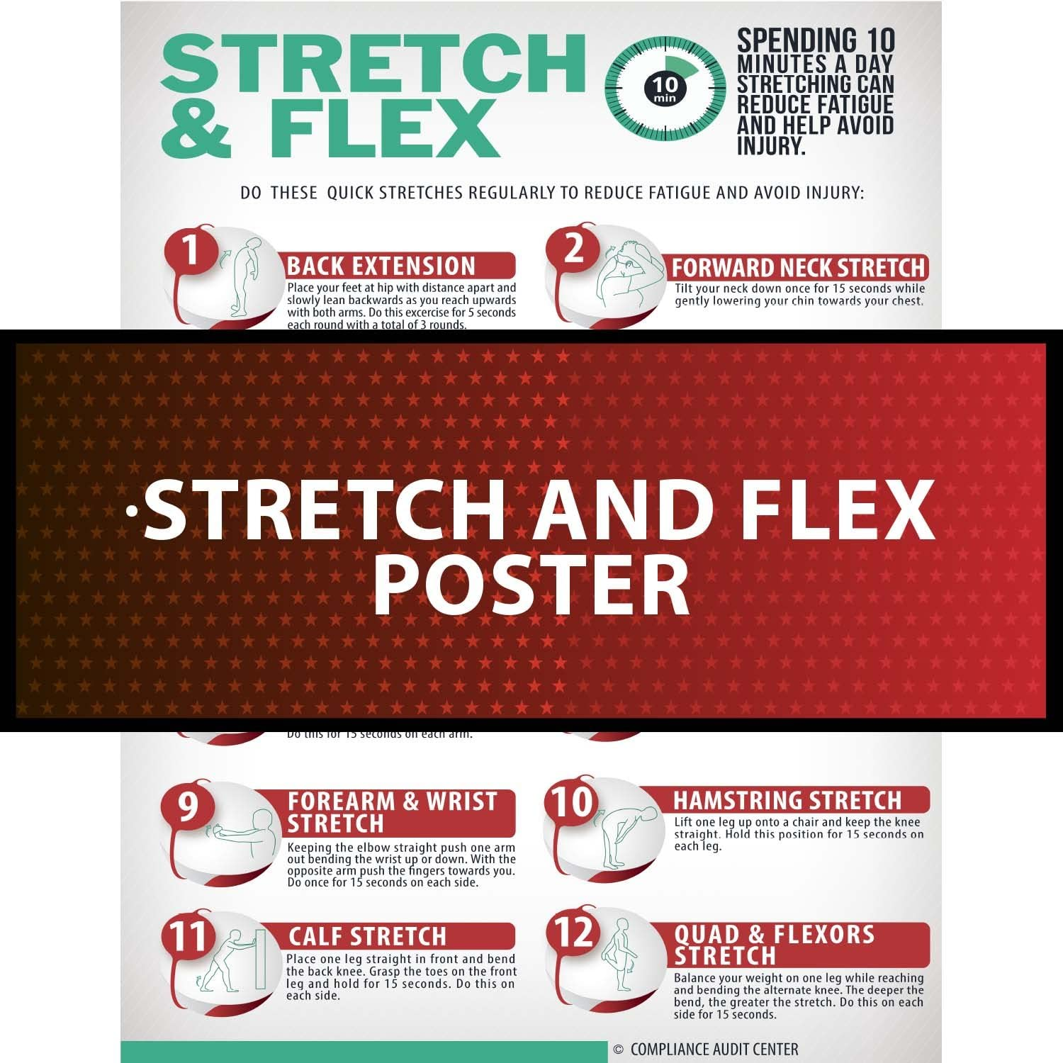 Fashion Stretch Flex Poster Exercise Manufacturer direct delivery for Emp Employees Workplace Guide