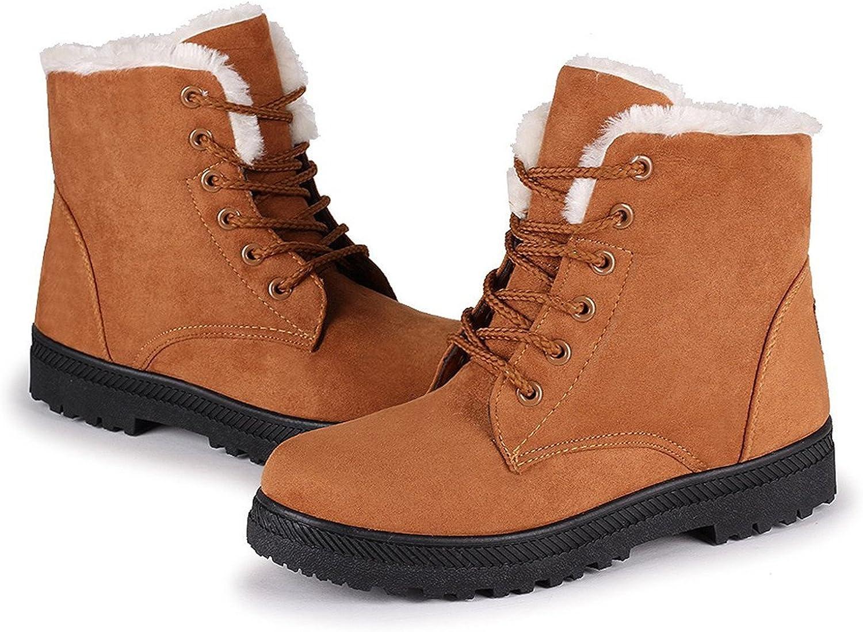 Henraly Suede Flat Platform Sneaker shoes Plus Velvet Winter Women's Lace Up Cotton Snow Boots