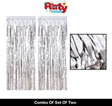 Party Hour Metallic Shimmer Fringe Silver Foil Curtain for Wedding, Happy Birthday, Anniversary, Christmas,Bachlorette Decorations Props Propz ( 4 Feet X 8 Feet)- Set of 2