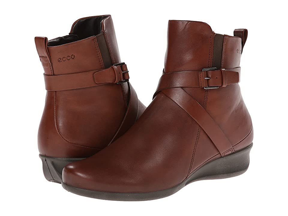 ECCO Abelone Cross Buckle Boot (Mahogany) Women