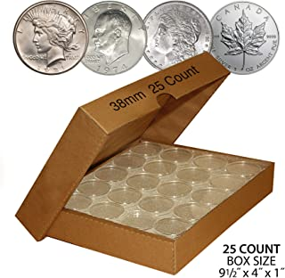 25 Direct-Fit Airtight 38mm Coin Holders For MORGAN / PEACE / IKE DOLLARS