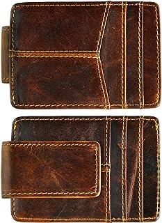 Le'aokuu Genuine Leather Magnet Money Clip Credit Card Case Holder Slim Handy Wallet (coffee)