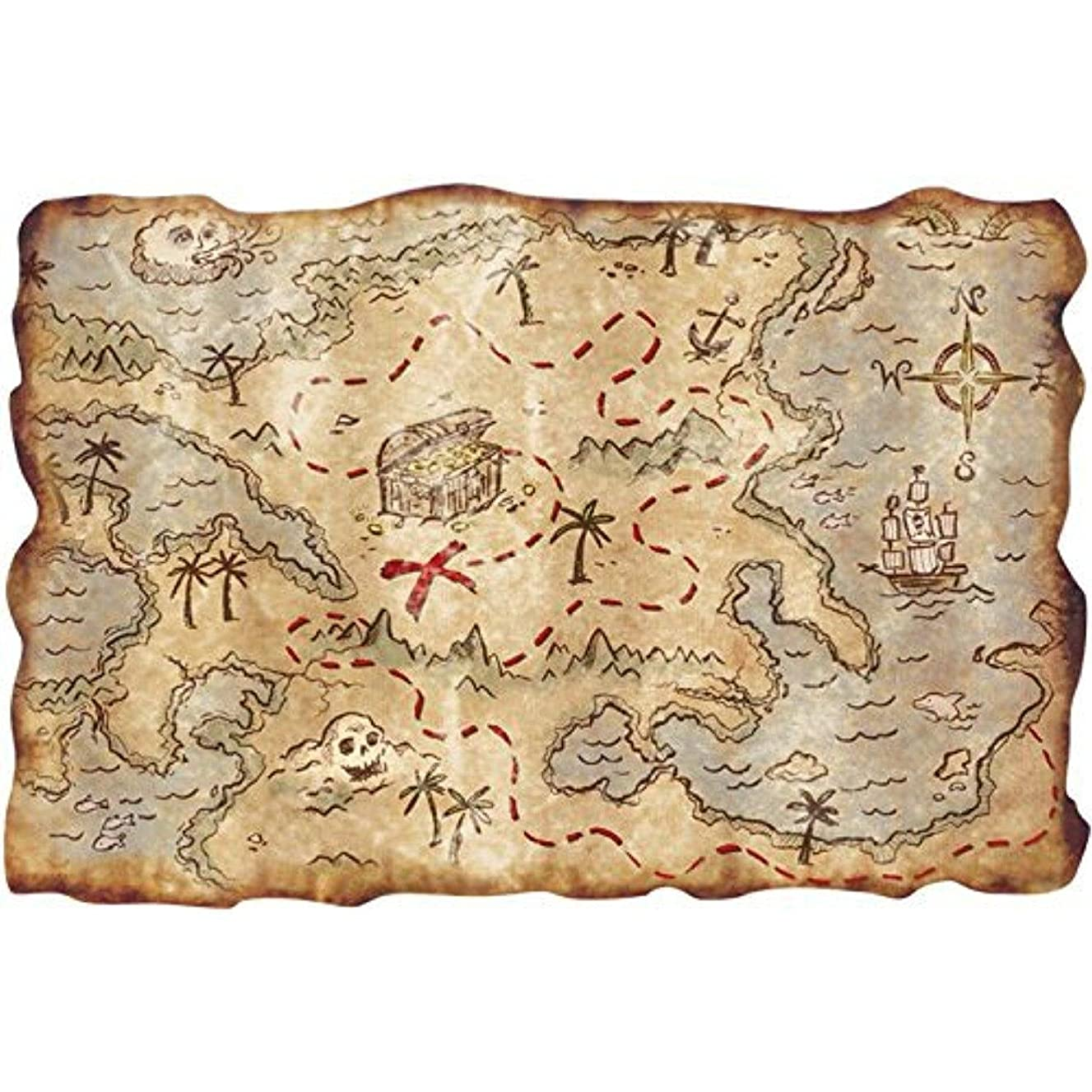 Pirate Map Edible Icing image topper for 1/4 sheet cake
