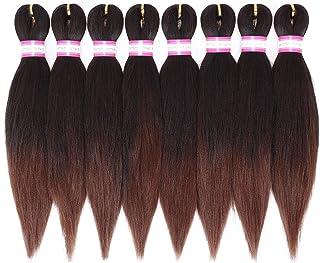 Pre-Stretched Braiding Hair Extensions-12 Inch 8 Packs Synthetic Braiding Hair Crochet Braids, Natural Easy Braid Crochet ...