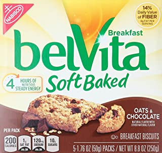 belVita Soft Baked Oats & Chocolate Breakfast Biscuits (5 Count Box, 8.8 oz)