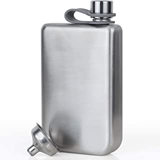 Vonwulf 8oz Hip Flask and Funnel, Stainless Steel Classic Silver - Whiskey Flask Gift Set - Engraveable