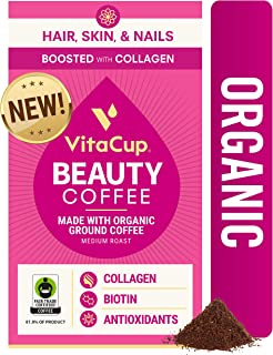 VitaCup Beauty Coffee Organic Fair Trade Ground Coffee w/ Cinnamon, Collagen, Biotin, & Vitamins for Hair Skin and Nails f...