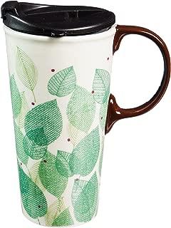 Cypress Home Ceramic Leaves of Lain Travel Coffee Mug, 17 ounces