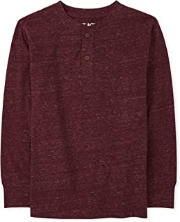 The Children's Place Boys' Long Sleeve Marled Henley Top