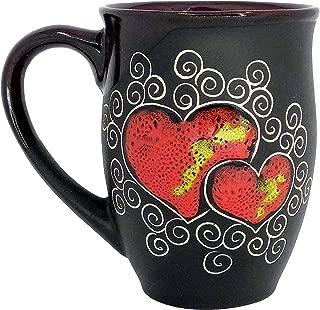 Pottery Coffee Mug Gift Idea «Red Heart»16.9 fl oz