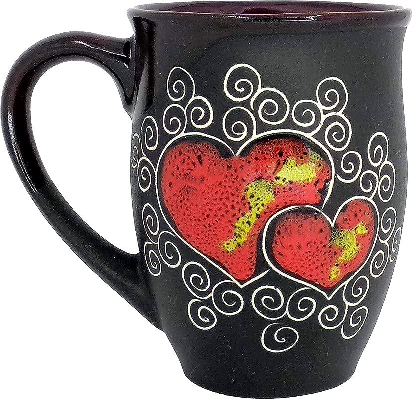 Pottery Coffee Mug Gift Idea Red Heart 16 9 Fl Oz