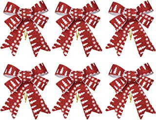 iPEGTOP 6 Pcs Christmas Bows Holiday Ribbons, Shiny Glitter Red Plastic Bows for Festive Holiday Ornaments Christmas Trees, Wreaths and Gifts Use Indoor/Outdoor Decoration