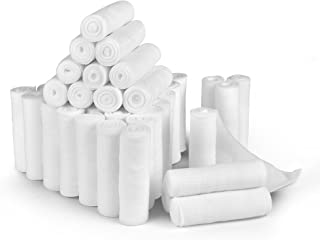 D&H Medical 24 Bulk Pack Gauze Stretch Bandage Roll, 4 Inch X 4 Yards, Used for Wound Care, Easy to Use Cotton Ply Rolled Hand Wrap Dressing Ankles & Knees. Add to First Aid Supplies.